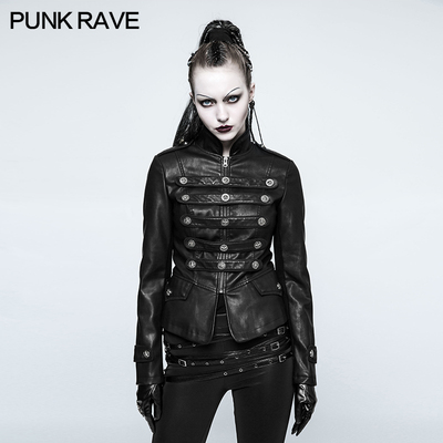 taobao agent Small broken home PUNK RAVE ashes series women's military uniform short coat rock motorcycle party PU leather punk style