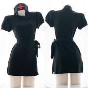 Bảy ba đồng phục phù hợp với y tá quần áo tối Punk y tá nhỏ màu đen chia ngã ba sexy váy nhà riêng