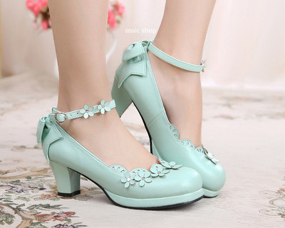 taobao agent Original lolita Lolita petal bow tea party sweet and cute high thick heel small leather shoes
