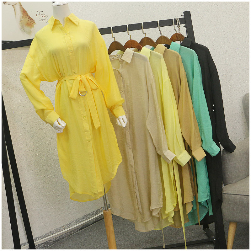 Tao Tao quần áo mùa hè mới lỏng POLO cổ áo màu rắn đơn ngực mỏng váy nữ 54513 #