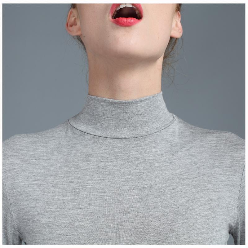 Phương thức đáy áo dài tay mảnh duy nhất phần mỏng mùa thu quần áo nữ mặc bó sát áo sơ mi nữ bông đồ lót nhiệt