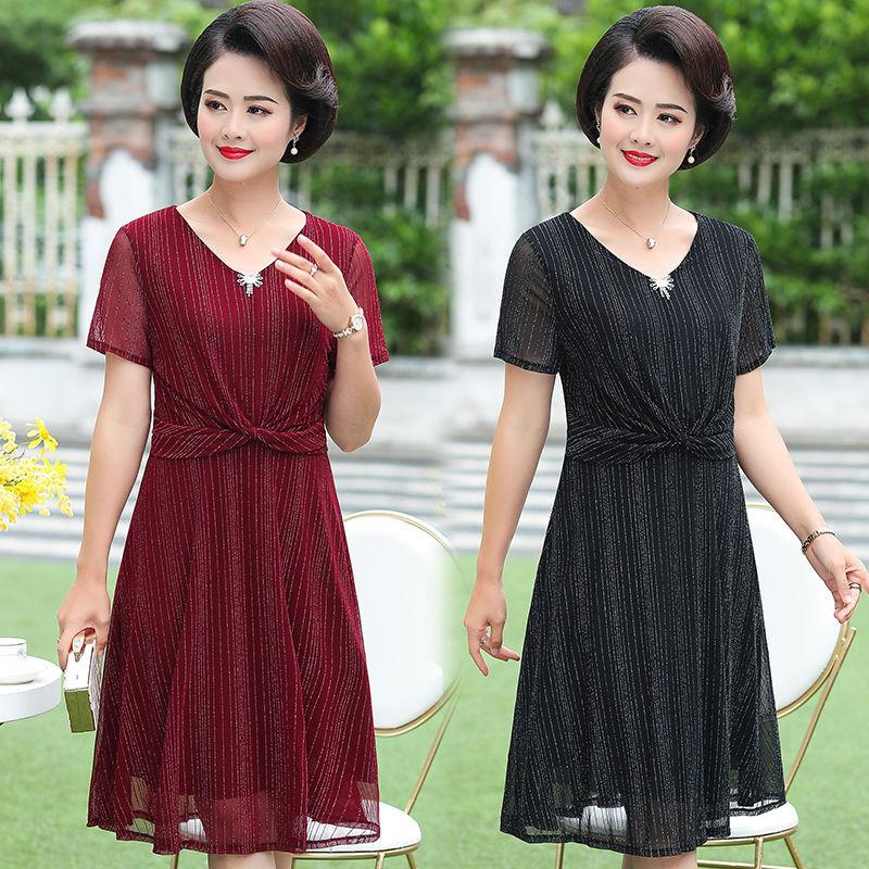 妈妈夏装连衣裙2021新款40岁50中老年女装显瘦大码中年女夏季裙子