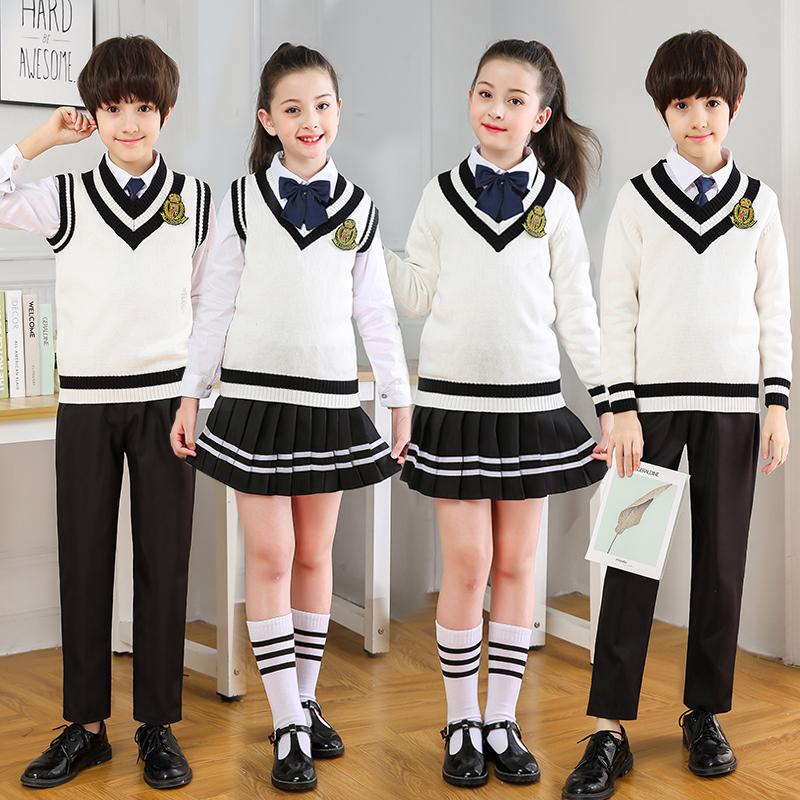 Đồng phục học sinh tiểu học và trung học áo len mùa thu và mùa đông áo ba lỗ kiểu Anh quần áo bé trai và bé gái hợp xướng - Đồng phục trường học / tùy chỉnh thực hiện