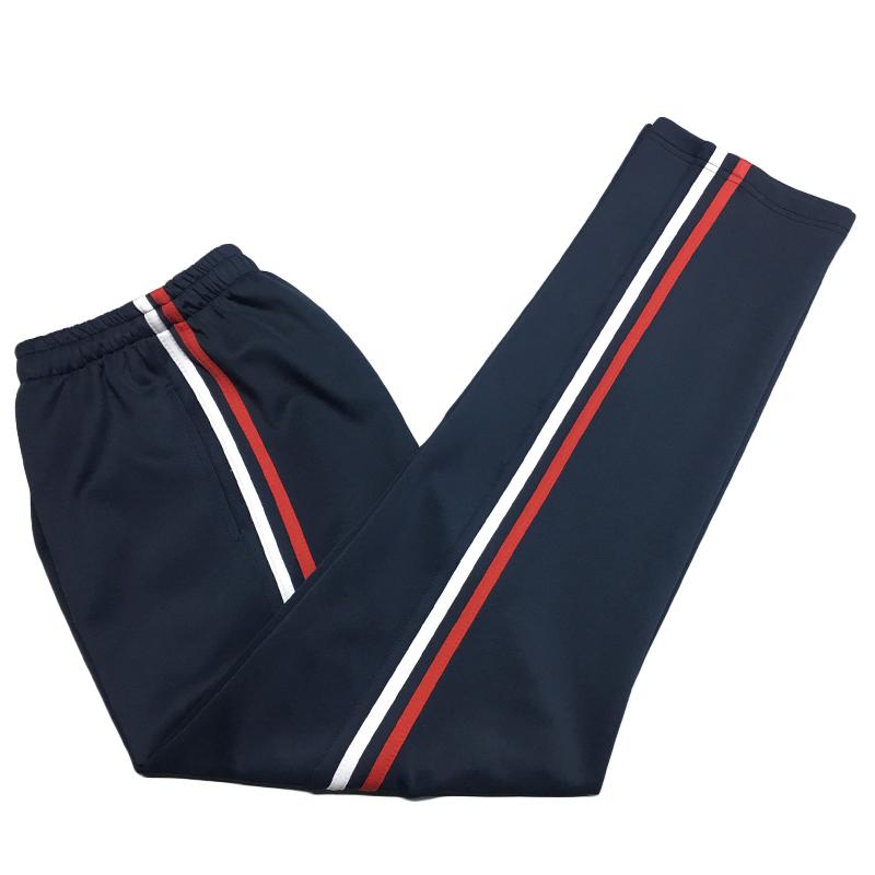 Tùy chỉnh Hàn Quốc lụa cộng với nhung màu đỏ và trắng đồng phục học sinh quần phụ nữ mùa xuân và mùa thu mùa đông lỏng sinh viên thể thao quần của phụ nữ quần lỏng