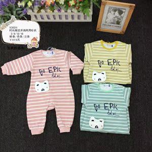 小熊溜溜新生儿春秋纯棉婴儿合同服0-18个月宝宝衣服外出哈衣