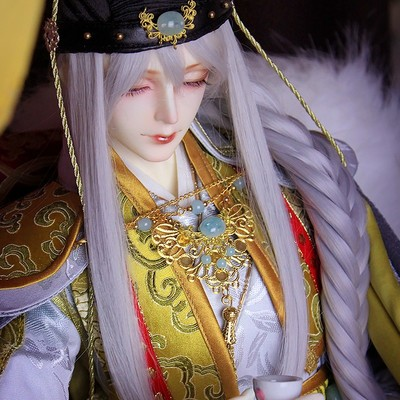 taobao agent 1/3 Uncle BJD/SD Doll Doll Wig DK Uncle Nine Thousand Years Old Official Costume Hair 3 Points Silver Gray Long Hair