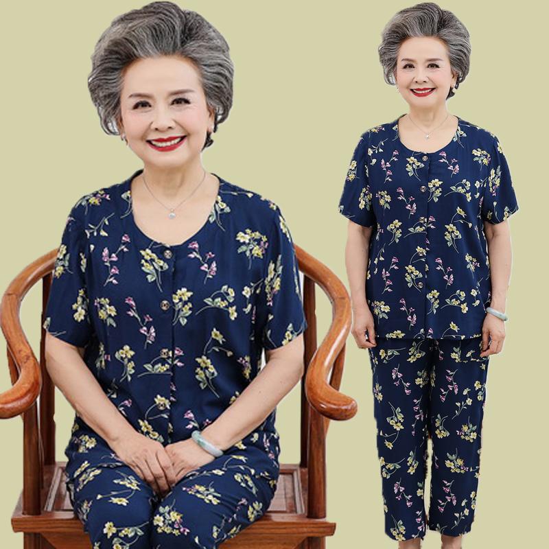 Trung niên và người cao tuổi của phụ nữ mùa hè bông đặt cũ ngắn tay quần áo bà ngoại nhân tạo bông hai mảnh 60-80 tuổi