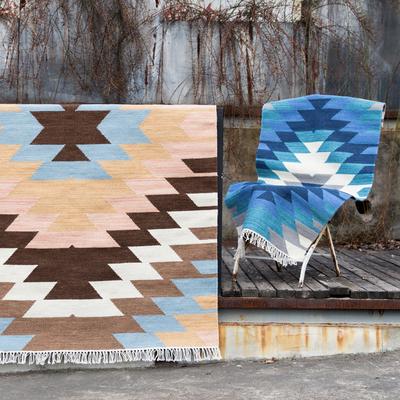 视觉味道 进口北欧简约几何客厅羊毛地毯床边毯