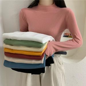 秋季2020新款网红纯色半高领打底衫上衣韩版修身百搭长袖针织衫女