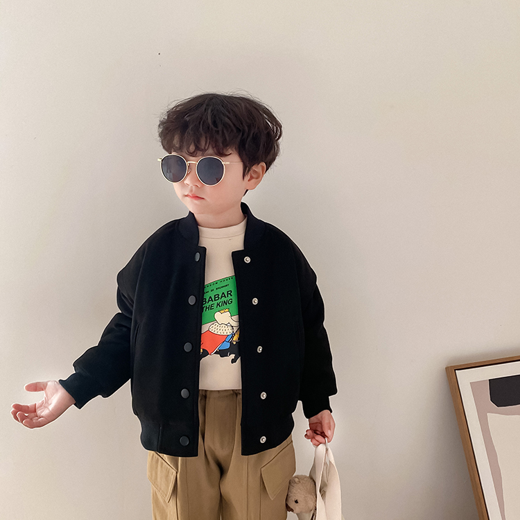 男童洋气外套中小童新款上衣2020秋冬加厚夹克儿童夹棉休闲棒球服