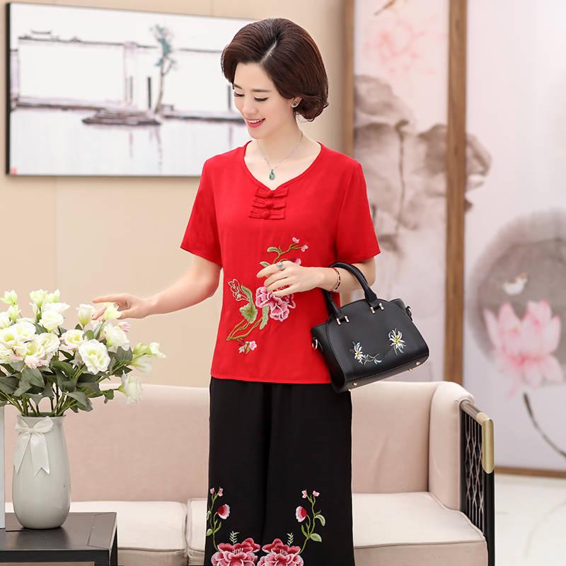 中老年女装妈妈装夏季绣花中年女夏装女装短袖刺绣两件套单件套装