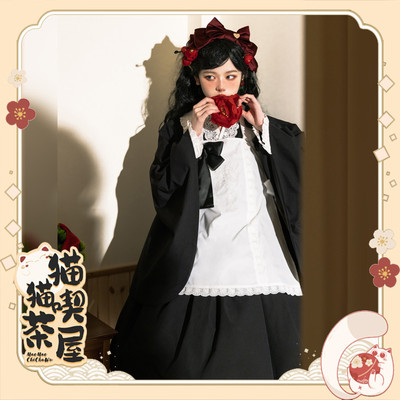 taobao agent 【Deposit, stepped tail payment -20 yuan】NyaNya cat eating tea house lolita original pure color Japanese style suit