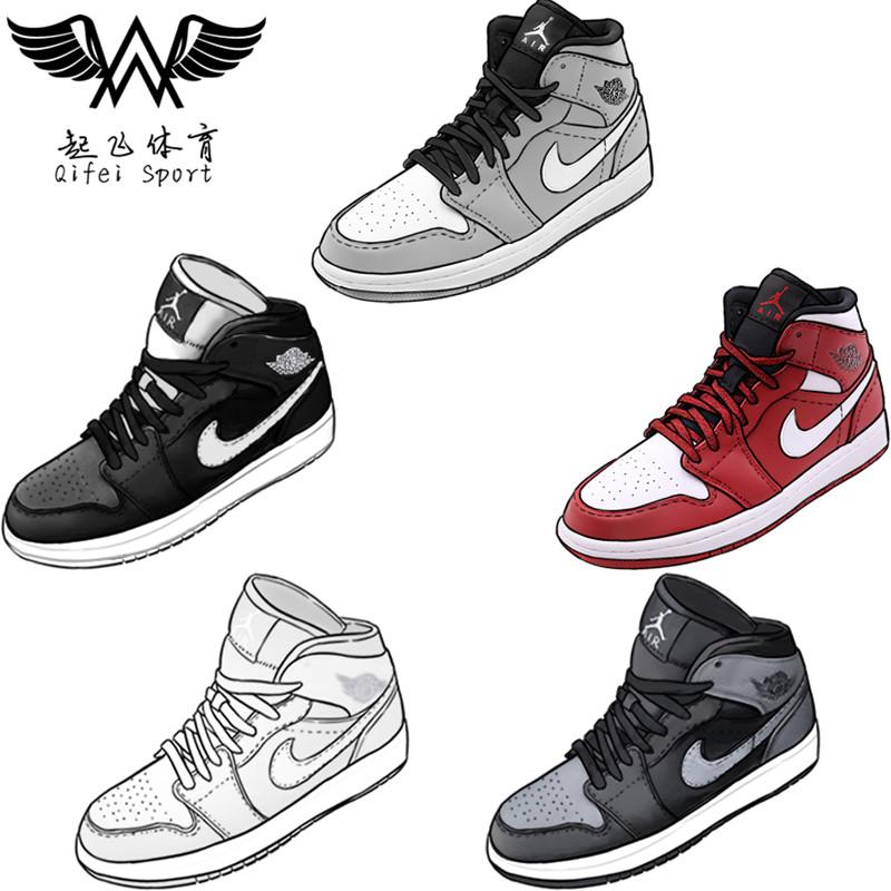 Air Jordan 1 AJ1 mid纯白 黑白 黑灰芝加哥中帮篮球鞋554725-104