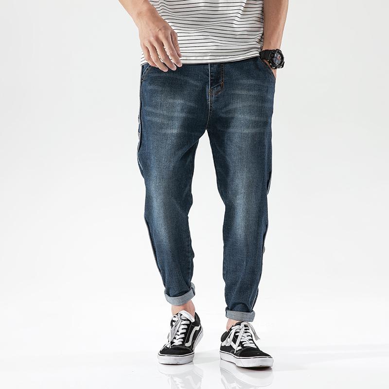 D5277-P60春夏新款牛仔裤男哈伦裤大码宽松长裤日系水洗牛仔裤