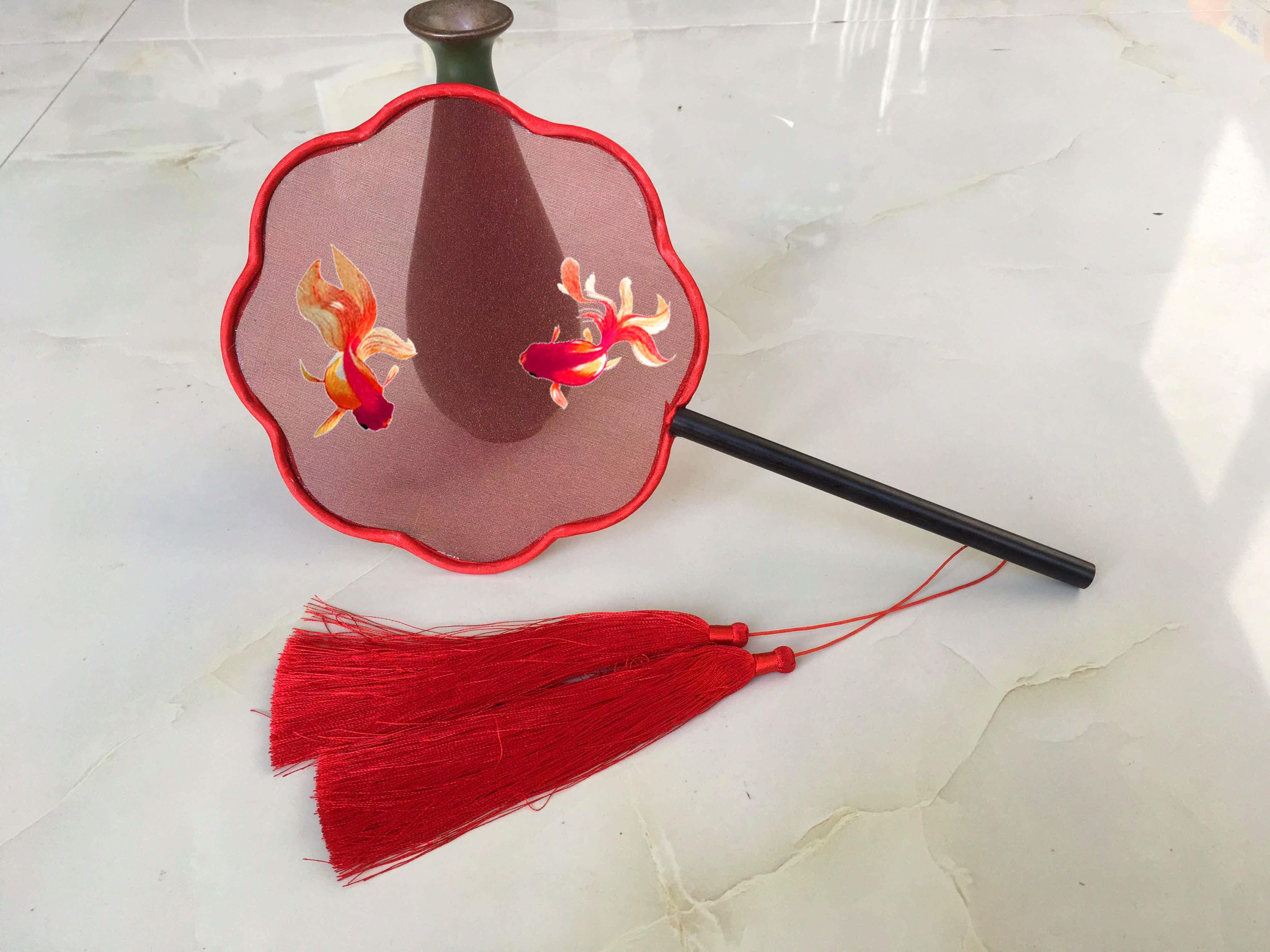 Handmade thêu thêu diy người mới bắt đầu kit palm fan gói nguyên liệu gói vật liệu 15 CM fan nhóm fan Song Ngư