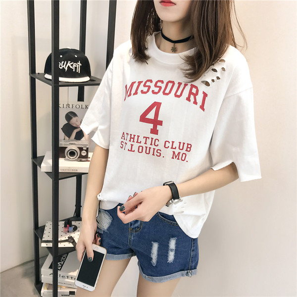 Summer New Korean Loose Hole Short-Sleeve Female Printed T-Shirt