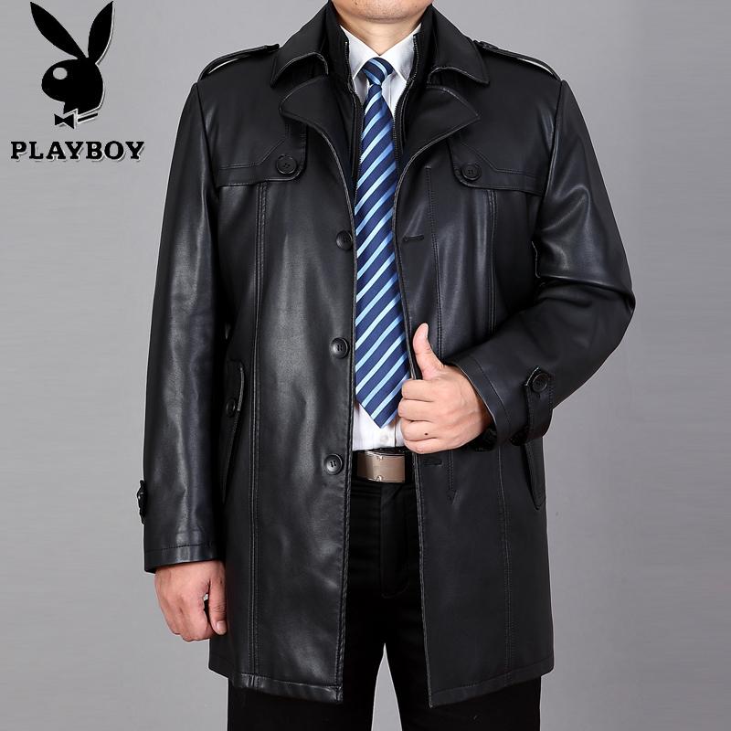 Playboy mùa thu và mùa đông mới phần dài người đàn ông da kích thước lớn da áo gió cộng với nhung áo khoác da cha áo khoác da