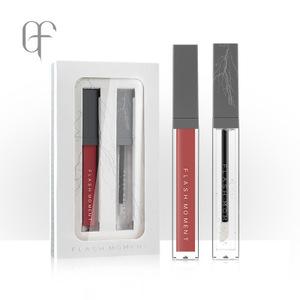 Matte lip gloss + không màu kính lip gloss set lip men matte lip gloss nước ánh sáng lip trang điểm son môi gương lip dầu
