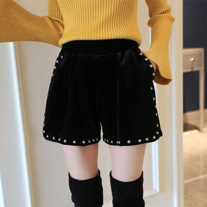 【80-200斤穿】大码女装胖mm显瘦金丝绒阔腿短裤子女2020新款
