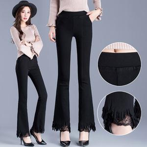 秋季女装新款高腰黑色蕾丝喇叭裤女显瘦紧身外穿铅笔小脚打底裤