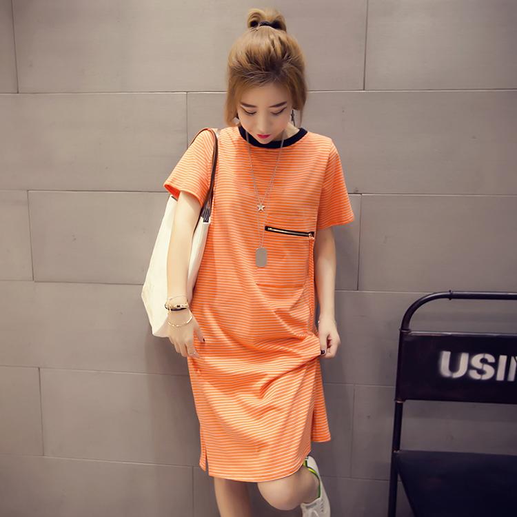 2019春夏装韩版宽松圆领短袖百搭中长款条纹T恤裙女学生上衣潮