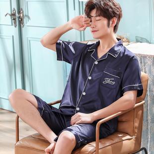 男士睡衣短袖短裤丝绸休闲家居服
