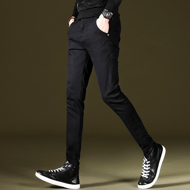 夏季男士牛仔裤男装弹力韩版修身小脚裤男裤潮流休闲男生黑色裤子