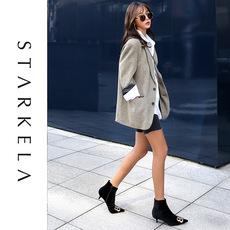 STARKELA 2018秋冬新款女靴ins超火尖头双B金属扣细跟侧拉链短靴