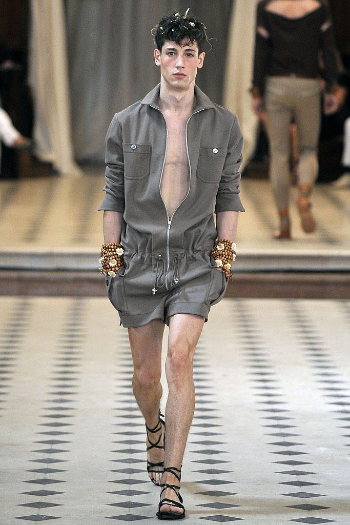 Mùa hè triều mới của nam giới sàn catwalk quần short dài tay dụng cụ jumpsuit jumpsuit mảnh của quần áo dây kéo túi stereo