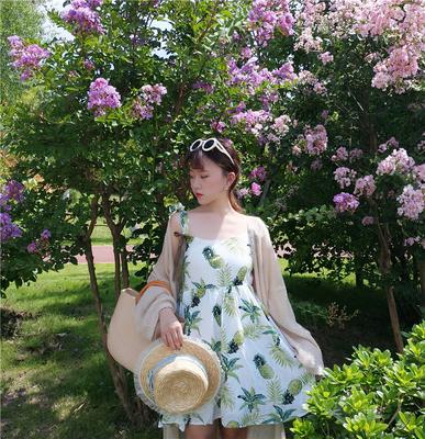 实拍夏季新款少女菠萝夏日可爱连衣裙