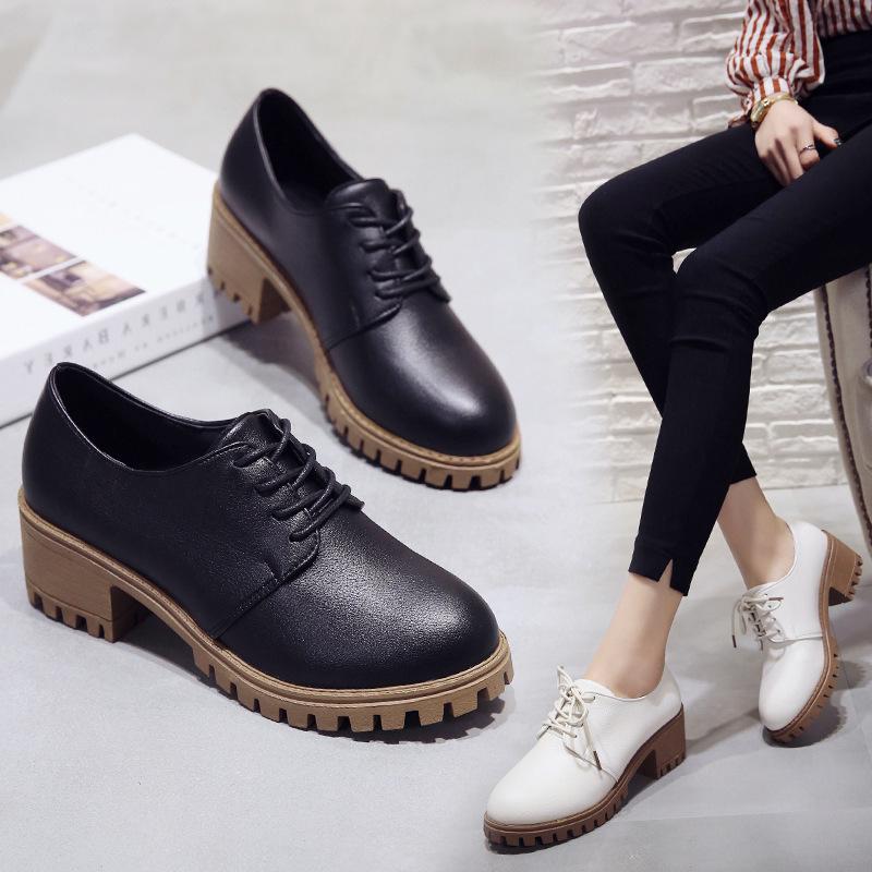 2018黑色小皮鞋女平底新款韩版休闲百搭系带英伦复古粗跟单鞋26