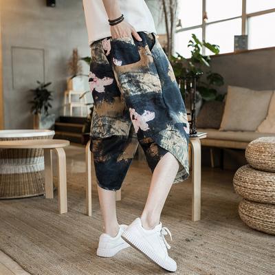 Trung Quốc phong cách quần short vải lanh đèn lồng bãi biển quần bảy quần kích thước lớn của nam giới rộng chân quần lỏng chín điểm quần lớn mùa hè Crop Jeans