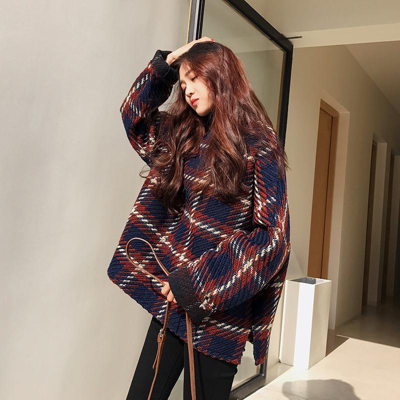 Retro kẻ sọc lỏng mỏng nửa cao cổ áo len trùm đầu áo len nữ mùa đông sinh viên Hàn Quốc kích thước lớn áo len