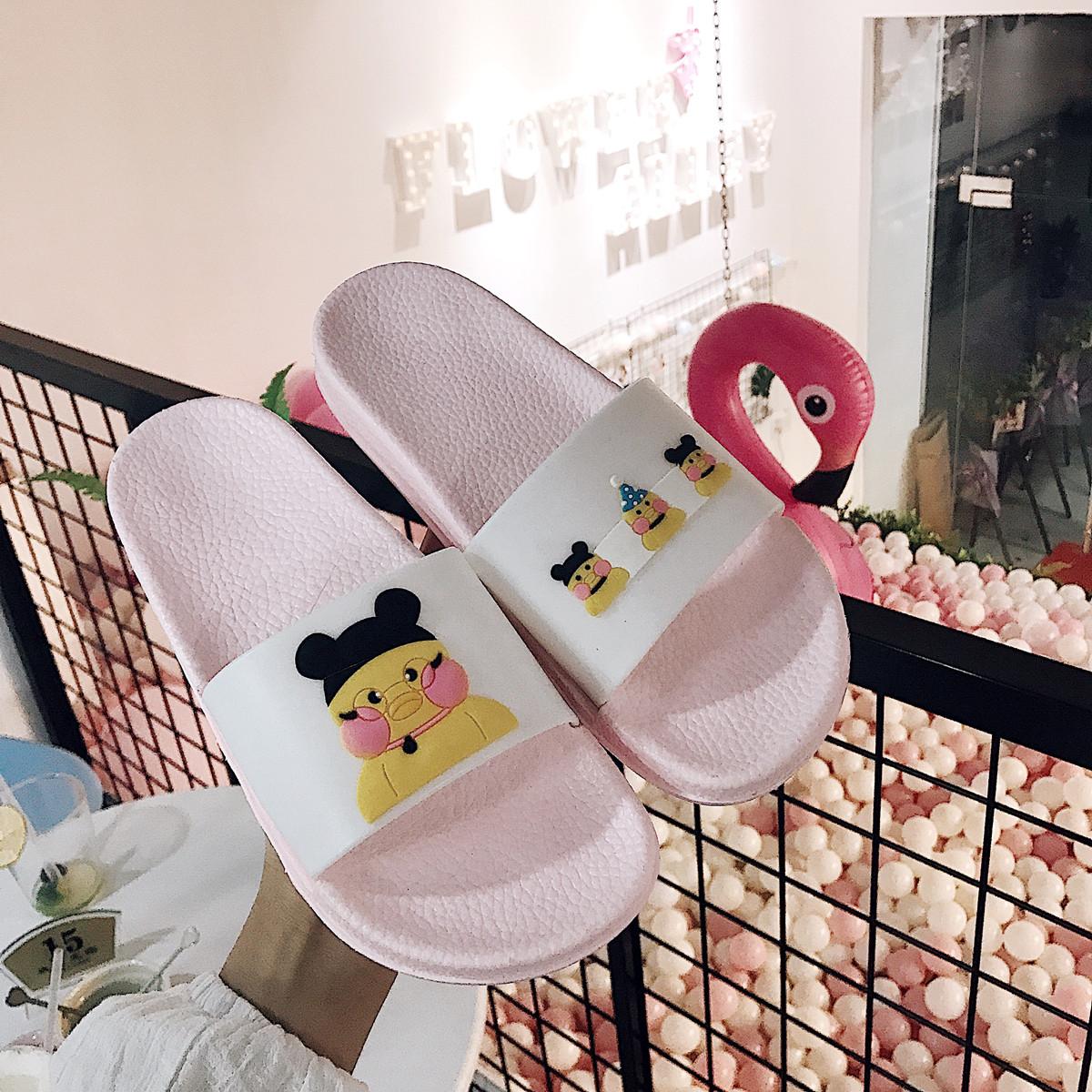 Hàn Quốc mới của nhà phim hoạt hình dễ thương hyaluronic axit vịt trong nhà và ngoài trời dép của phụ nữ sinh viên tắm non-slip dép đi trong nhà