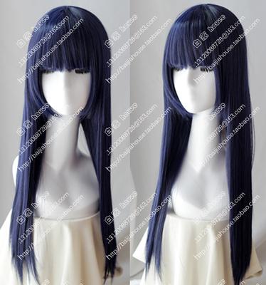 taobao agent Cosplay Wig Naruto Hyuga Hinata Shippuden Blue and Black Mixed Colors Qi Liu Hai Long Straight Hair