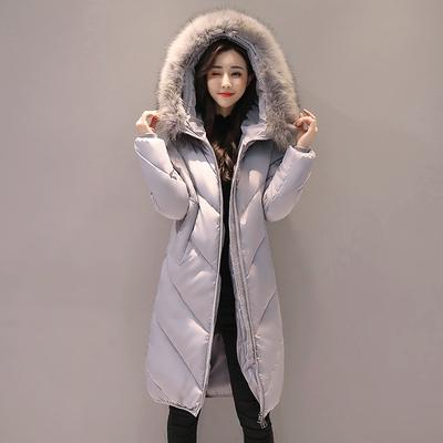 大毛领冬季韩版时尚宽松中长款棉衣外套女加厚学生bf棉袄羽绒棉服