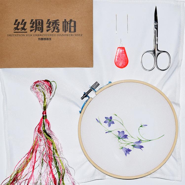 Một gói thêu DIY thêu khăn tay kit cho người mới bắt đầu áp dụng để gửi hướng dẫn không cross stitch phù hợp với khăn tay
