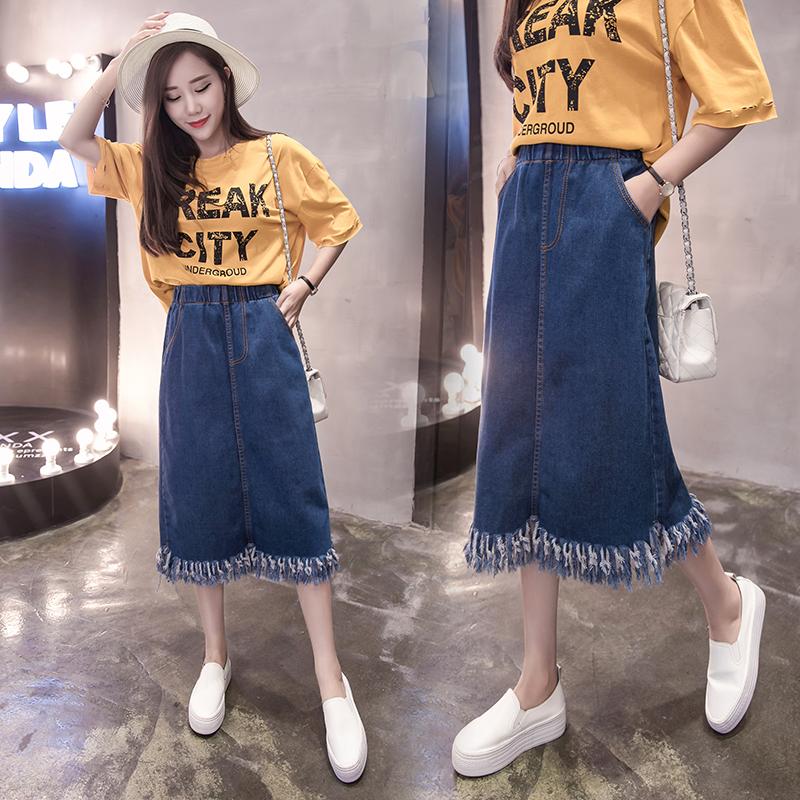 实拍 牛仔裙2018春夏新款大码女装胖mm200斤中长款流苏半身裙2051