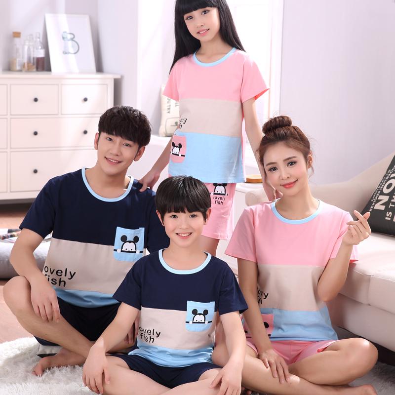 Một gia đình của ba trẻ em trong mùa hè quần áo bé trai đồ ngủ lớn trẻ em ngắn tay cotton trai mùa hè phần mỏng dịch vụ nhà