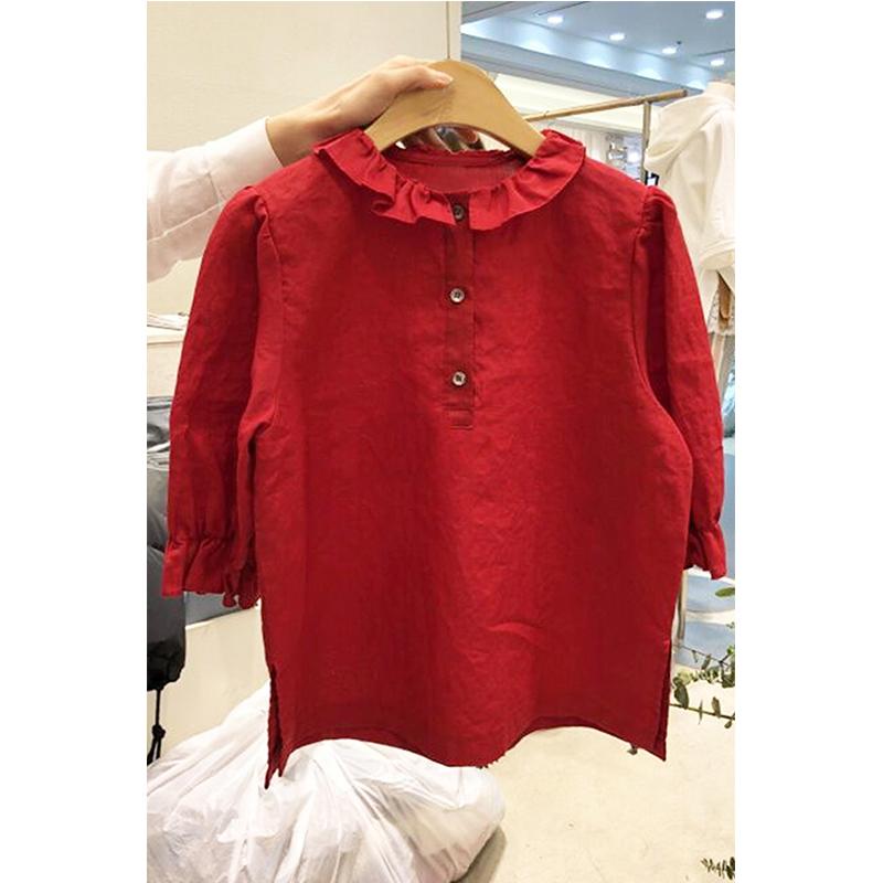 韩国东大门2020新款春夏装纯色娃娃领可爱短袖纽扣衬衫宽松上衣女