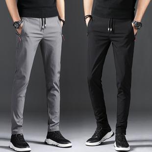 夏季薄款2020新款男士休閑褲子男運動褲韓版潮流修身款小腳速干褲