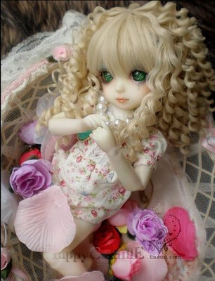 taobao agent BJD/yosd 6 points doll hair wig/baby hair/high temperature wire HT-court roman roll light gold 1/6