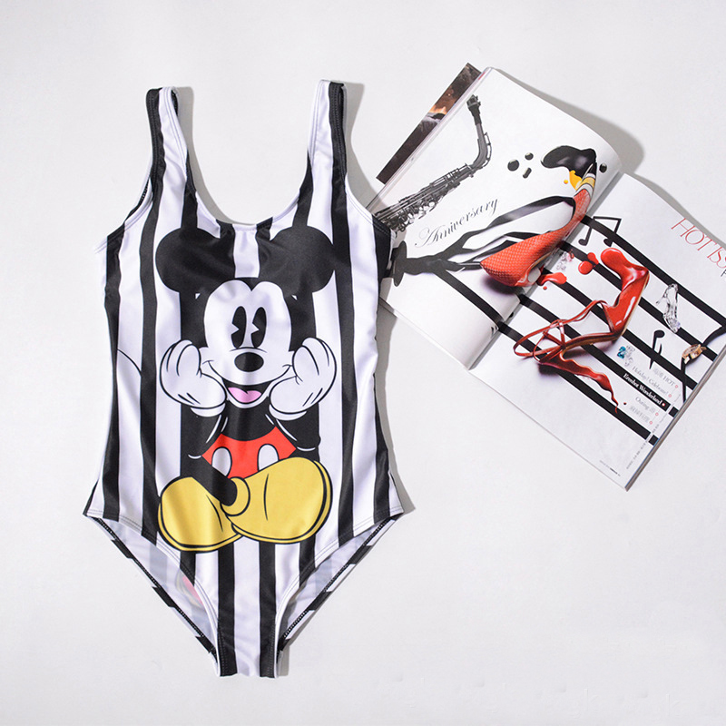Swimsuit Mickey Cartoon Printed High Leg One Piece 589847793636