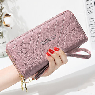 Wallet female 2021 new simple wallet female long wrist bag double zipper large capacity mobile wallet card one