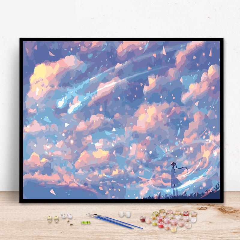 Сделай сам номер слово масло цвет Картина абстрактный пейзаж красивое небо спальня креатив ручная работа Окраска декоративной росписи