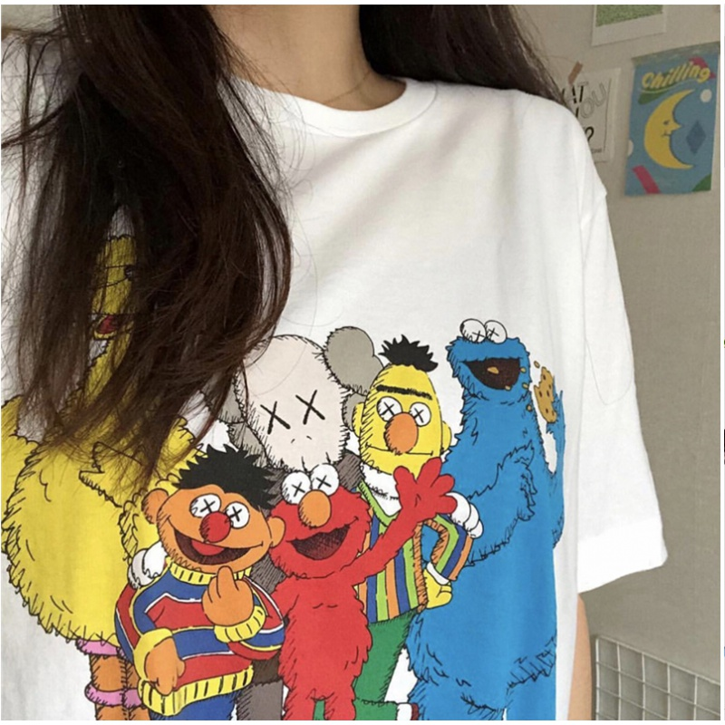 我已验货【第二件0元】kaws芝麻街T恤