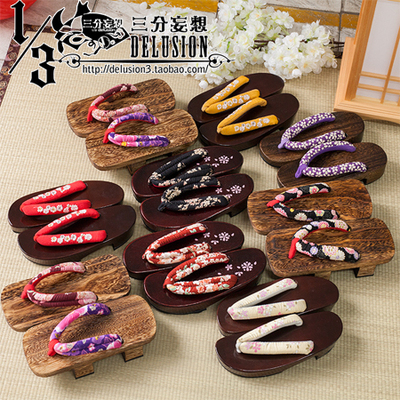 taobao agent Three-point delusion cos accessories universal clogs two-tooth half-moon sakura bottom kimono Japanese clogs cospaly shoes