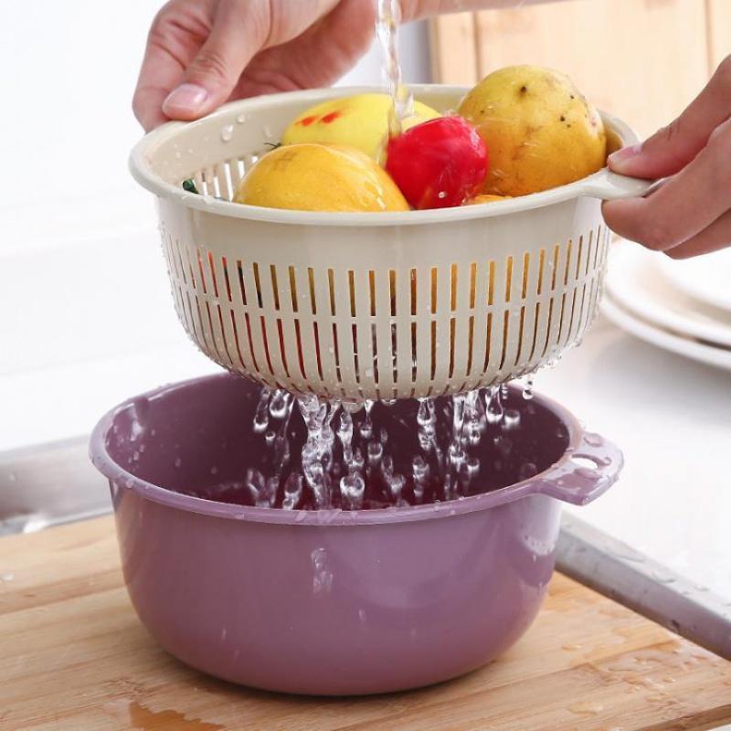 居家日用厨房洗菜双层镂空沥水篮创意水果篮