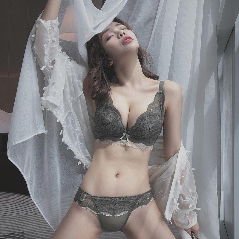 单件\\\/套装 内衣女小胸罩聚拢加厚性感蕾丝文胸无钢圈收副乳防下垂