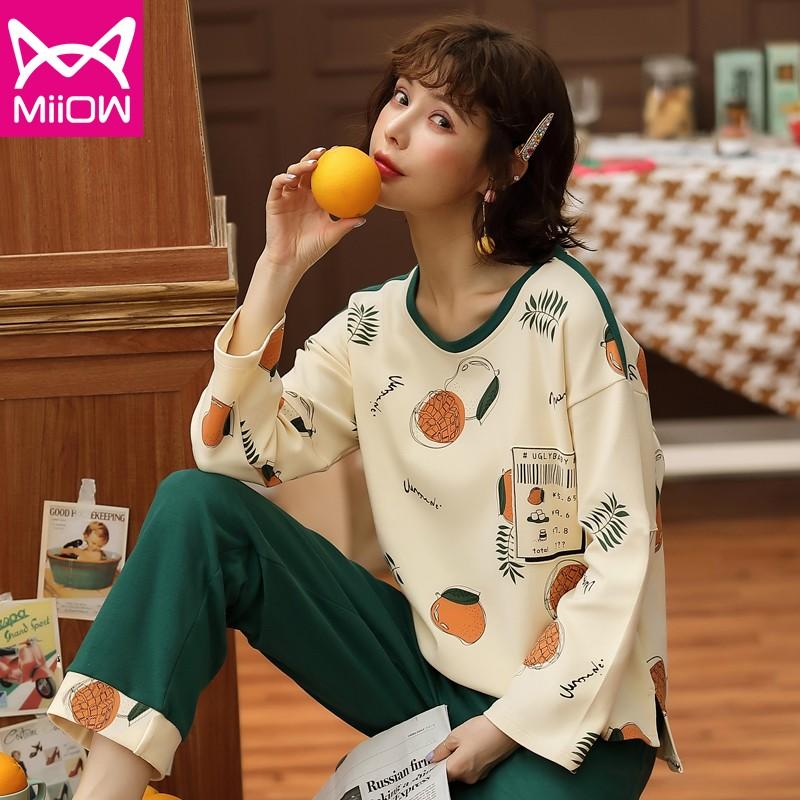 【猫人】秋季韩版长袖睡衣女士家居服套装